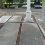Op begraafplaats Oud Eik en Duinen in Den Haag is Tobias Asser begraven. Voor de witte zuil ligt de verweerde en beschadigde grafsteen van het graf van Tobias Asser