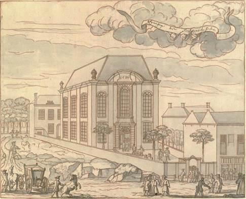 Synagoge aan de Prinsessegracht  1729 - collectie Haags Gemeentearchief