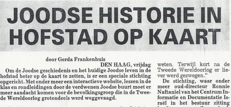 artikel Telegraaf, 2 augustus - Stg. JEDH
