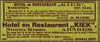 Advertenties voor het Hotel Kiek in het Nederlands Israëlitisch Weekblad op 29 januari 1904
