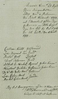 Nieuwe Joodse leden van het oudkleerkopers- of St. Maartensgilde in 1750 - collectie Haags Gemeentearchief