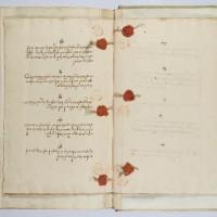 Haags Gemeentearchief, archief NIG, uit inventarisnummer 1,  Pinkasregisters (boek met besluiten van de parnassijns, de bestuurders van de synagoge), 1723-1786 - fotograaf Ardon Bar Hama