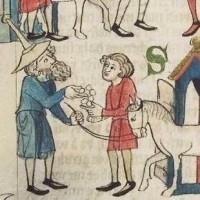 Joodse handelaar afgebeeld in de Sachsenspiegel. Joden waren in de veertiende eeuw in het Duitse Rijk (waaronder ook het graafschap Holland viel) verplicht een hoed met een punt te dragen -  collectie Universiteitsbibliotheek Heidelberg (cod.Pal.germ.164)