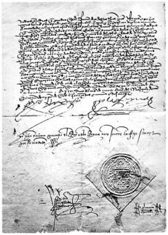 Alhambra Decreet van 31 maart 1492 waarin koning Ferdinand II en koningin Isabella van Spanje de verdrijving van de Joden uit hun land afkondigden - afbeelding Wikimedia