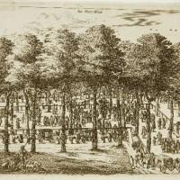 C. Elants, Koetsen en wandelaars op het Voorhout omstreeks ca. 1650 - collectie Haags Gemeentearchief
