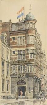 Redactiekantoor van de Haagsche Post aan het Noordeinde 23 in 1929 -  penseeltekening van Louis Brons, collectie Haags Gemeentearchief