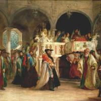 Synagoge in Livorno, omstreeks 1850. Azulai keerde in 1778 terug naar Livorno in Italie; hier was hij rabbijn tot aan zijn dood in 1809 - Solomon David Hart, collectie Jewish Museum New York
