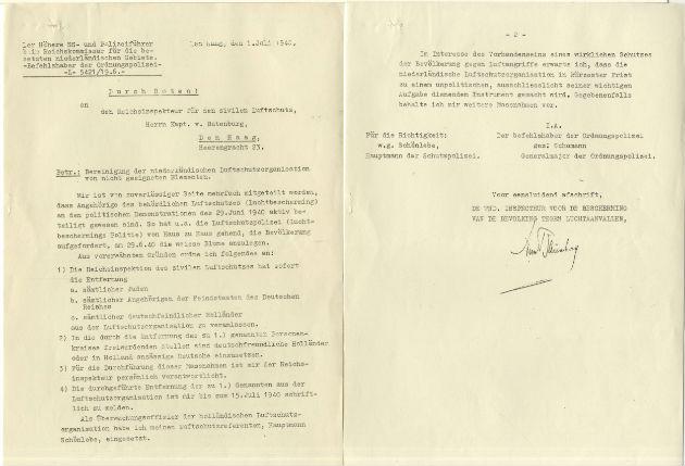 Brief van Otto Schumann, Generalmajor van de Duitse Ordnungspolizei, aan de rijksinspecteur van de Luchtbeschermingsdienst, waarin hij aangeeft dat Joden niet langer lid mogen zijn van de Luchtbeschermingsdienst vanwege hun rol op Anjerdag, 1 juli 1940 - Haags Gemeentearchief, archief Luchtbeschermingsdienst
