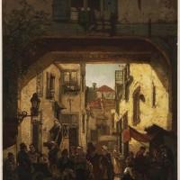 Boerenpoort in de Joodse buurt in Den Haag omstreeks 1870 - Salomon Vermeer
