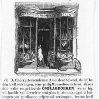 Reclame voor de winkel in omslagdoeken van Leonardus Verveer in de Veenestraat - collectie Haags Gemeentearchief