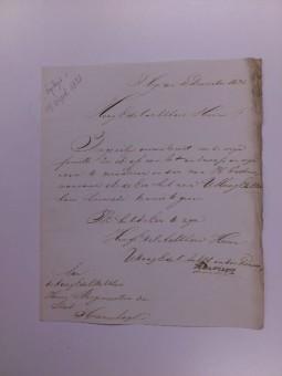Brief van Henry Davis aan het bestuur van Den Haag, waarin hij meedeelt af te zien van zijn verzoek om de familienaam Enthoven te moegen dragen, 12 december 1821 - Haags Gemeentearchief, bijlagen bij de notulen van de Burgemeesters