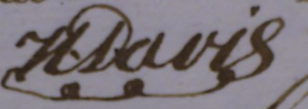 Handtekening van Henry Davis onder de ondertrouwovereenkomst van zijn dochter in 1804 - notaris J.S. Bach, Haags Gemeentearchief