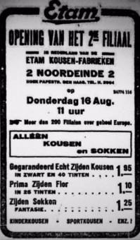 Advertentie in de krant Het Vaderland op 14 augustus 1923