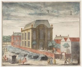 Ets van de Portugese synagoge in Den Haag door Philip Jan Caspar - collectie Joods Historisch Museum