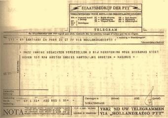 Telegram van de ouders George Maduro over een schenking aan Madurodam, 1958 - Haags Gemeentearchief, archief Madurodam
