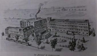 De nieuwe fabriek in volgelvlucht - afbeelding in 1926 in het tijdschrift 'Eigen Haard'