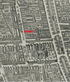 Synagoge aan de Brouwersloot achter de Voldersgracht - Uitsnede uit de kaart 'Nouveau Plan De La Haye' van Iven Besoet uit 1747, collectie Haags Gemeentearchief