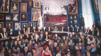 Schilderij 'De Hoge Raad' van Helen Verhoeven; in het midden Mr. L..E. Visser