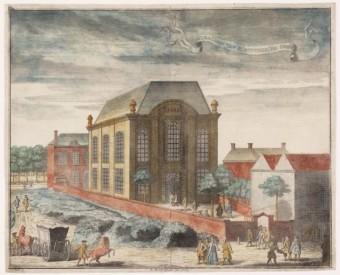 Portugese synagoge Honendal aan de Prinsessegracht in Den Haag, 1729 - Philips Jan Caspar, Collectie Joods Historisch Museum.