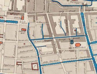 De Jodenbuurt rond de Nieuwe Kerk in 1770. Bij de letter B de Bezemstraat. De Lange Gracht is de huidige Gedempte Gracht.