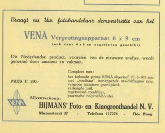 Advertentie van Hijmans groothandel in de Muzenstraat in 1947