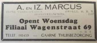 Opening van de broodjeszaak van Marcus in april 1940 - Advertentie in de Haagsche Courant