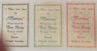 Suikerzakjes van broodjeszaak 'Marcus' - collectie familie Van den Hoek